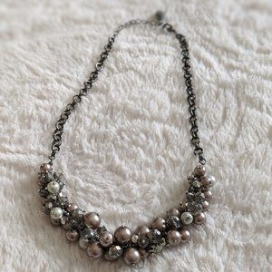 Vera Wang Pink & Grey Pearl Sparkle Necklace